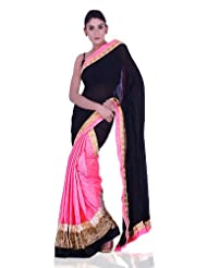 IndusDiva Georgette Black and Neon Pink Half and Half Saree