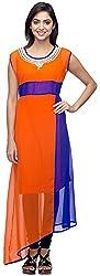 G&Z Collections Women's Georgette Straight Kurta (GZ026, Orange, 42)