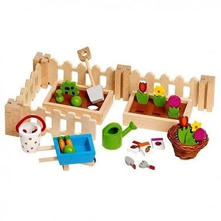 Goki - Mon petit jardin jouet en bois pour maison de poupées 32 pièces