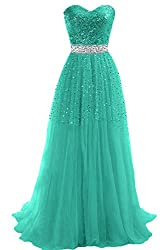 KissBridal Women's Sweetheart Tulle Long Bridesmaid Evening Party Prom Dresses