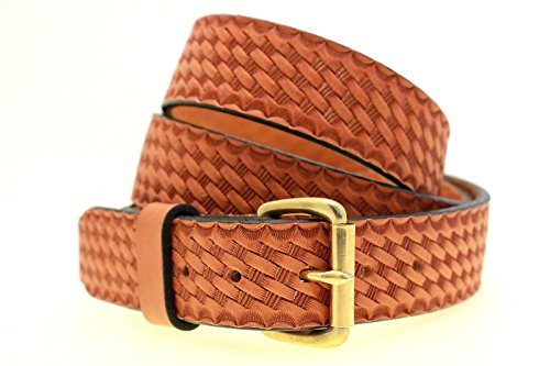 "Orion Leather 1 1/2"" London Tan Bridle Leather Belt With Basket Weave Embossing Solid Brass Buckle Nickel-Free"