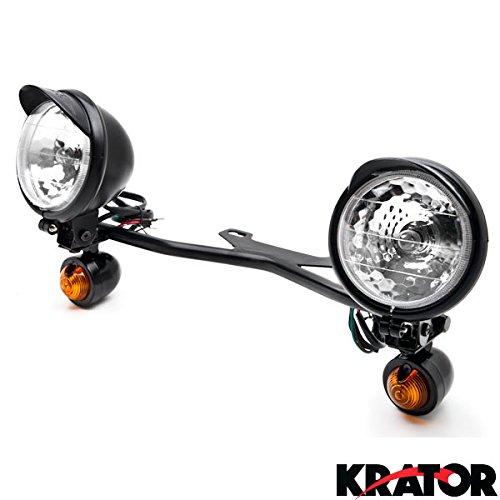Krator® Black Motorcycle Passing Light Bar & Turn Signals For Kawasaki Vulcan Classic Custom 900 (Kawasaki 900 Vulcan Custom compare prices)