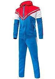 LANBAOSI Men\'s Patched Contrast Color Tracksuit Set (Jacket and Pants) US L=Tag XXL Aqua Blue