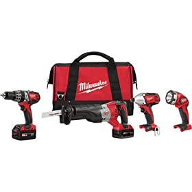 Milwaukee 2696-24 M18 Cordless Combo Compact Hammer Drill/Sawzall/1/4 Hex Impact Driver/Work Light/Charger/2 Battery