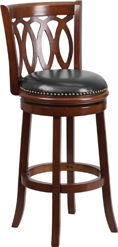 Flash Furniture TA-67029-CHY-GG Cherry Wood Bar Stool with Black Leather Swivel Seat, 29-Inch