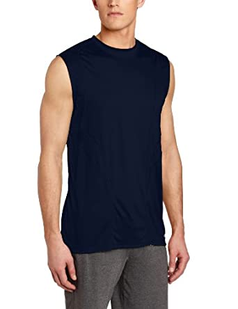 Russell Athletic Men's Fashion Performance Sleeveless Tee, Navy/Neon Yellow, Small