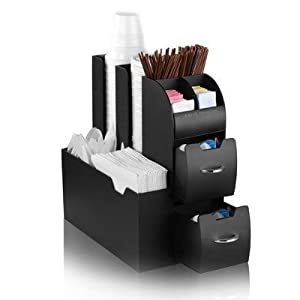 "3 X Mind Reader ""Organizer"" Coffee Condiment and Accessories Caddy, Black"