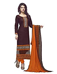 7 Colors Lifestyle Brown Coloured Embroidered Cotton Jacquard Unstitched Dress Material
