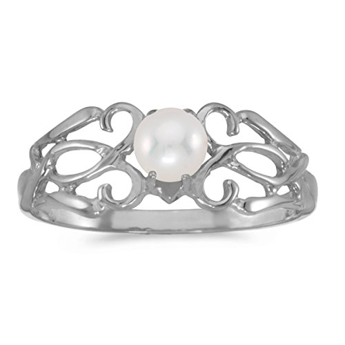 14K Gold Round Cream Pearl Solitaire Filigree Design Antique Engagement Fashion Ring - White-Gold, Size 10.5
