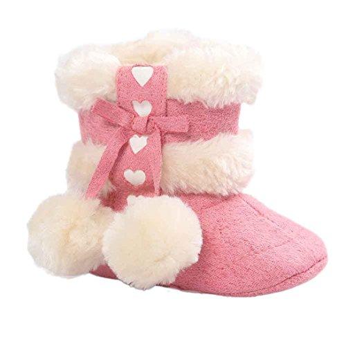 Kingko® Molle del bambino Sole Snow Boots morbida Presepe scarpe stivali bambino (0~6 mesi, Anguria rossa)