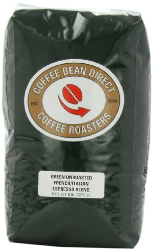 Green Unroasted French/Italian Espresso Blend, Whole Bean Coffee, 5-Pound Bag
