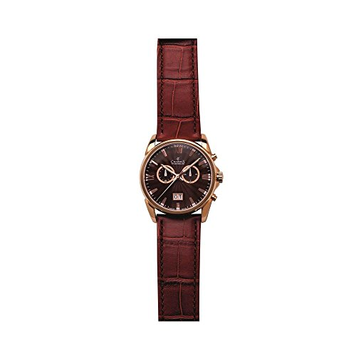 Charmex Geneva 2662 42mm Stainless Steel Case Brown Calfskin Synthetic Sapphire Men's Watch