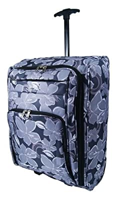 More4bagz Cabin Approved Super Lightweight Hand Luggage Travel Wheeled Holdall Baggage Suitcase Bag Fits Ryanair Easyjet And Many More - 1.8k - 42Litres (Black Grey)