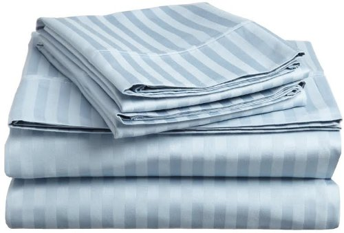 "Lt.Blue Stripe 800 Tc Bedding Sheet Set With Extra Deep King Size 21"" Inches Made By Pure Cotton Free Ship Usa Quality Linen front-1036564"
