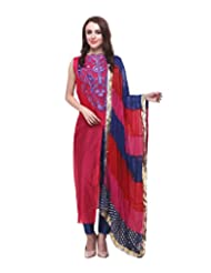 Lemon Chiffon Women's Chanderi Regular Fit Straight Shirt With Pant (A-2108, Pink And Blue, 40)