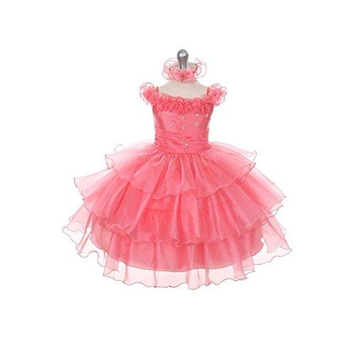 Rain Kids Coral Organza Off Shoulder Flower Girl Dress Girl 12M front-977415