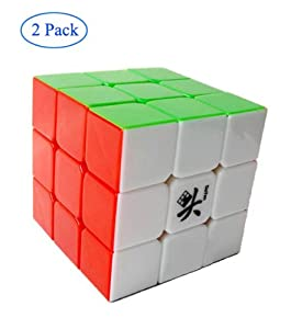 Finegood Dayan GuHong 3x3 Speed Cube 6-Color Stickerless V1 With One Free Cube Bag (2 pack)