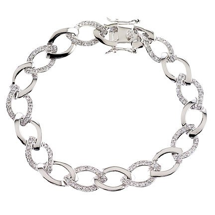 ClassicDiamondHouse Oval Cubic Zirconia {C.Z.} Diamond Link Chain Bracelet Bridal jewelry (Super Special, Free Gift Included)