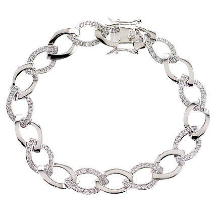 Oval C.Z. Diamond Link Chain Bracelet Bridal jewelry (Nice Holiday Gift, Special Black Firday Sale)