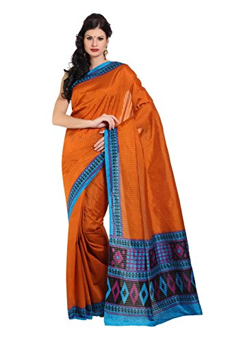 Parchayee Women Synthetic Sarees (93695 _Orange _Free Size)