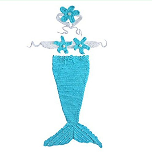 Fashion Queen Baby Girls Halloween Mermaid Wool Yarn Knit Costume