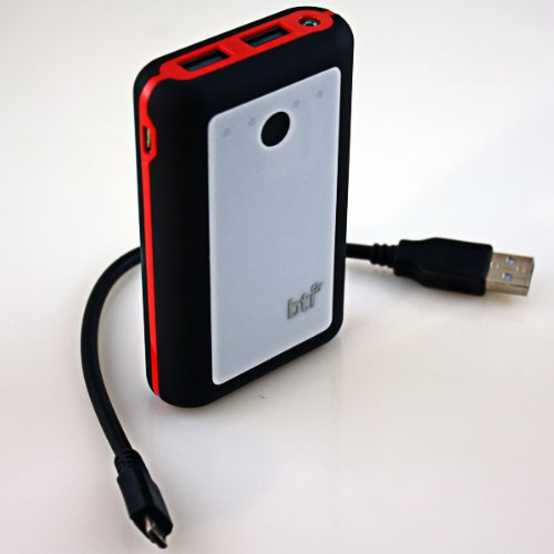 Bti 7800Mah Powerbank For Samsung Galaxy Ace S6800 With Led Flashlight - Black Color, Red Trim, White Face