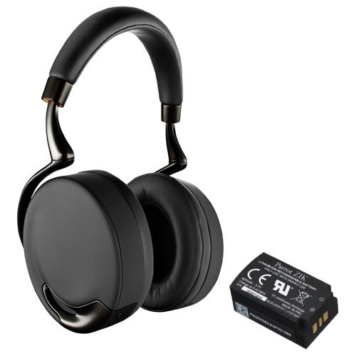Parrot PF560103 Touch-Activated Bluetooth Headphones (Black Gold) Bundle with Parrot Zik Battery