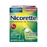 Nicorette Coated Gum 4mg100粒入りフレッシュミント味「海外直送品・並行輸入品」