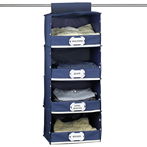The G.U.S No-Sag Hanging Deluxe 4-Shelf Closet Organizer With Front Flip-Down Flap, Navy Blue (Broom Closet Shelf compare prices)