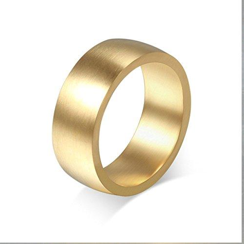 alimab Anelli Gioielli da uomo in acciaio inossidabile Fedi liscia tinta unita, acciaio inossidabile (da uomo), 24,5, colore: oro, cod. BWNSXDE1487