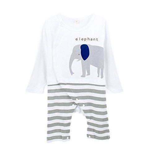 Big Elephant Baby Gentle Boy Romper Cute Printed Stripe Toddler Set F88 (3-6 Months, White)