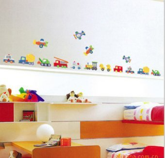 """Play Car"" Diy Cartoon Children'S Bedroom Stickers front-441425"