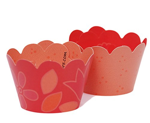 MINI Coral Cupcake Wrappers, Tulip, Peach Dots, 24 Wraps, Confetti Couture Party Supplies