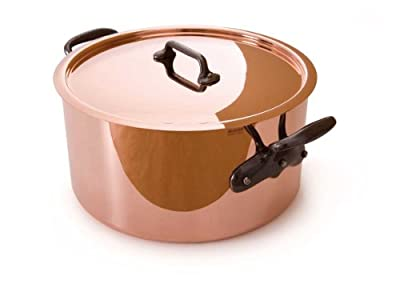 Mauviel M'Heritage Copper M250C 6505.02 6.4 Quart Stockpot with Lid and Cast-Iron Handles