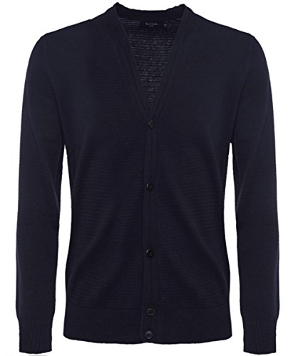 Paul Smith Jeans Men's Ribbed Button-Through Cardigan Marina XL