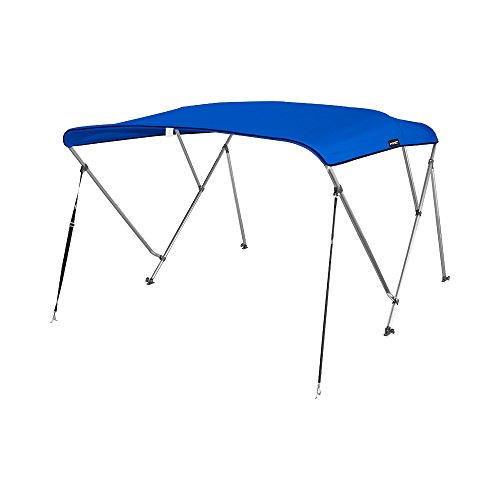 "MSC® Standard 3 Bow Bimini Boat Top Cover with Rear Support Pole and Storage Boot (Pacific Blue, 3 Bow 6'L x 46""H x 61""-66""W)"
