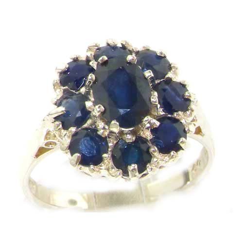 Luxury Ladies Solid Sterling Silver Natural Sapphire Large Cluster Ring - Size 12 - Finger Sizes 5 to 12 Available - Suitable as an Anniversary ring, Engagement ring, Eternity ring, or Promise ring