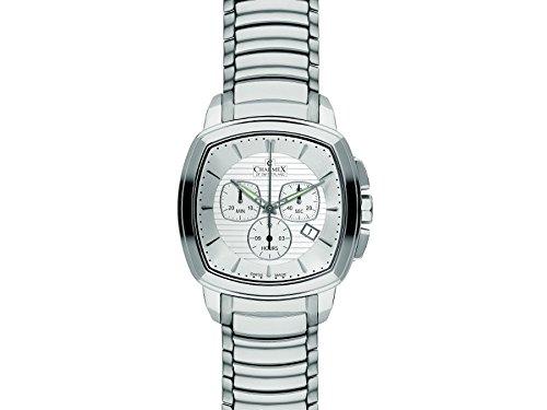 Charmex 2535 42x42mm Silver Steel Bracelet & Case Synthetic Sapphire Men's Watch