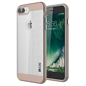 Crazy4Gadget SLiCOO for iPhone 7 Plus Concise Fashion Separable Dichromatic Brushed Texture Transparent TPU + Electroplating PC Combination Case (Coffee)