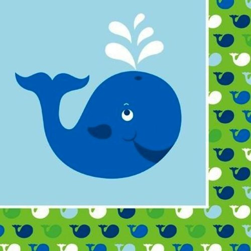 Creative Converting Ocean Preppy Boy Birthday Luncheon Napkins, 16-Count