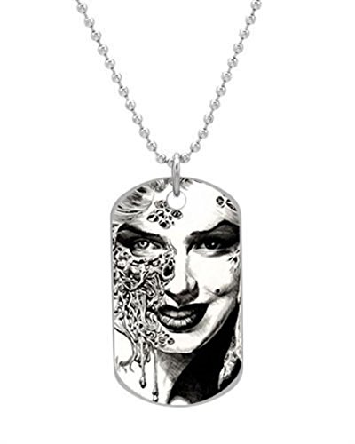 Marilyn Monroe Zombie Painting Custom OvaL Dog Tag (Large Size) Pet Tag Pendant Necklace Chain by Akon Ahzhe