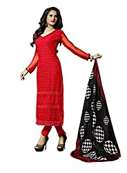 Suchi Fashion Embroidered Red Georgette Dress Material