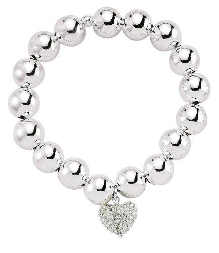 Jewelco London Silver - anti-tarnish Plated - White Crystal - - Bracelet -
