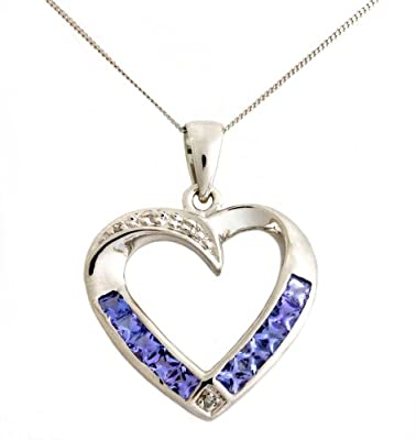 Ornami Glamour 9ct White Gold Diamond and Tanzanite Heart Pendant with 46cm Curb Chain