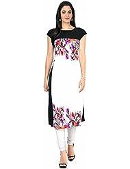 Queen Creation Women's Crepe White Colour Printed Kurti(White Colour) - B01LH7EX2U