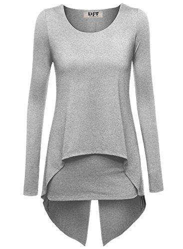 DJT - Maglietta maniche lunghe a doppio strato - Donna Grigio chiaro X-Large