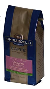 Ghirardelli Caffe Gourmet Coffee Chocolate Raspberry, Light Roast Decafinated Ground Coffee, 12-Ounce Bags (Pack of 3)