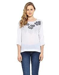 Saiesta Women's Off-White Boho Embroidered Top