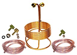 HomeBrewStuff 25\' Copper Immersion Wort Chiller - Deluxe Package with 2x 12\' Hoses, Fittings, and Faucet Adapter