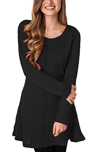 ChongXiao Women's Casual Crewneck Knitted Long Sleeve A Line Sweater Dress (L, Black 1)